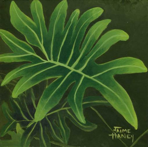 painted large philodendron leaf