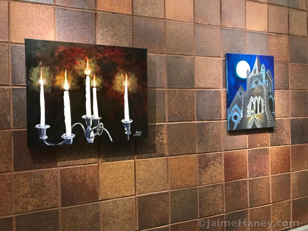 Candelabra painting at exhibit