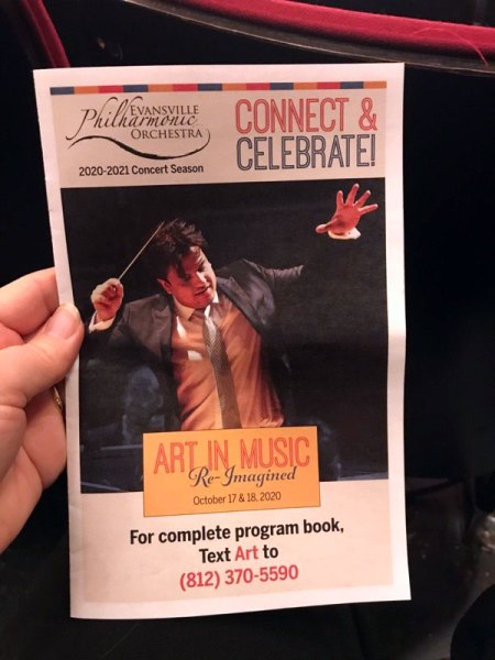 playbill for Art in Music Re-Imagined concert by Evansville Philharmonic Orchestra