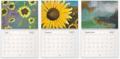 July, August and September paintings in the 2021 calendar by Jaime Haney