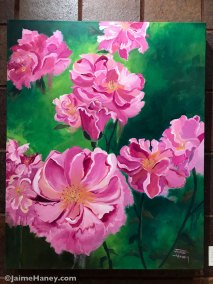 painting of loosely painted pink wild roses