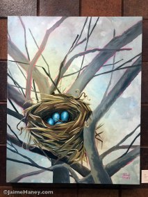 Large loosely painted bird's nest in tree original painting