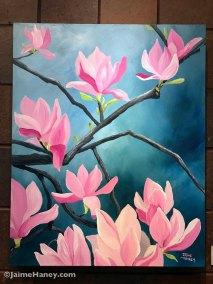 Large pink saucer magnolia original painting