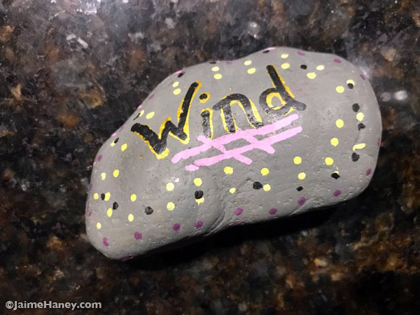 painted rock found at Windrock