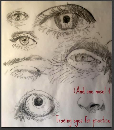 painting realistic eyes tracing practice