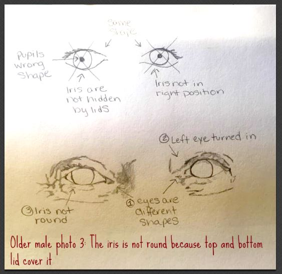 older male eye drawing iris shape