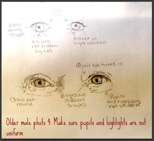 older male eye drawing correct