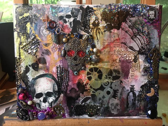 Halloween mixed media painting