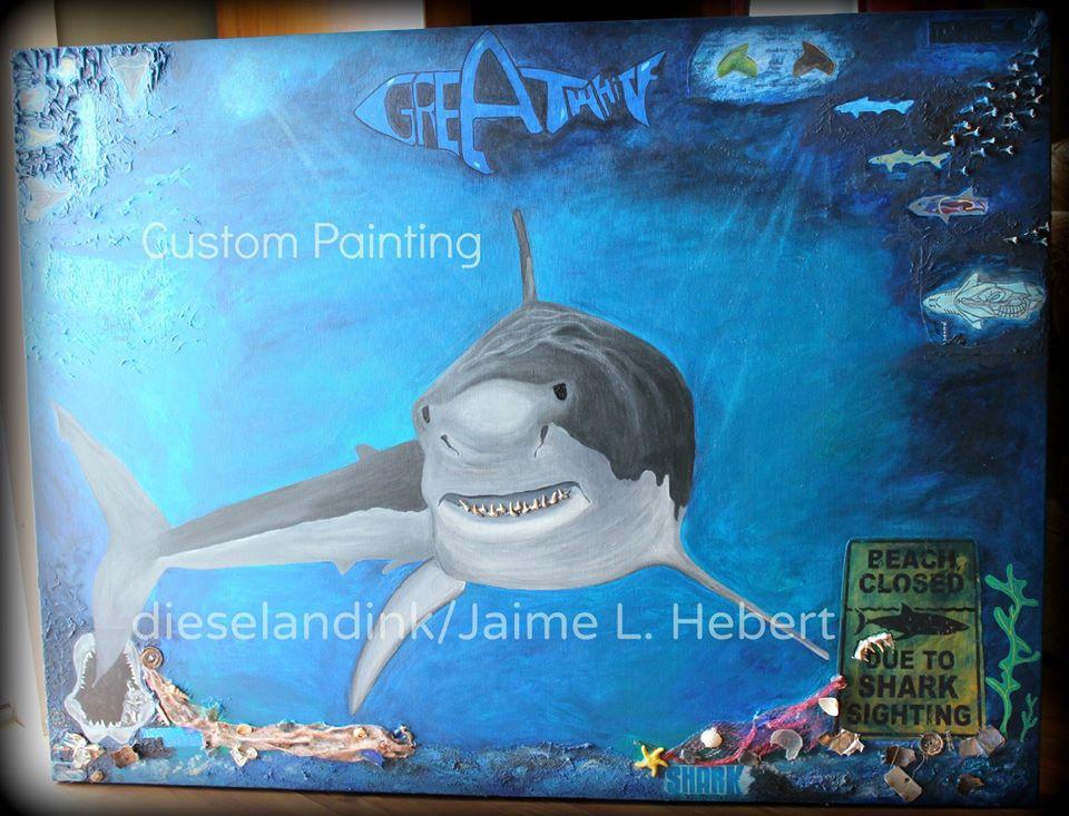 old mixed media art shark