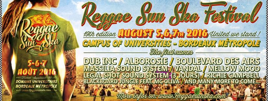 Reggae sun ska 2016 : Alborosie, Dub Inc, BDA, Massilia sound system ...