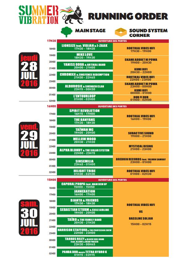 Running Order 2016 - Summer Vibration reggae festival - Selestat