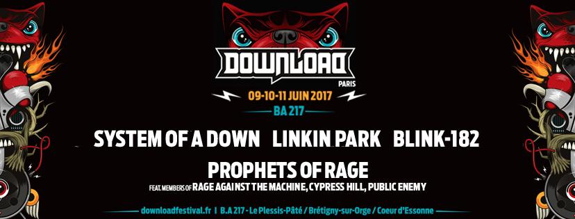 Download Festival en France : SYSTEM OF A DOWN, LINKIN PARK, BLINK-182, Prophets of Rage en premiers noms