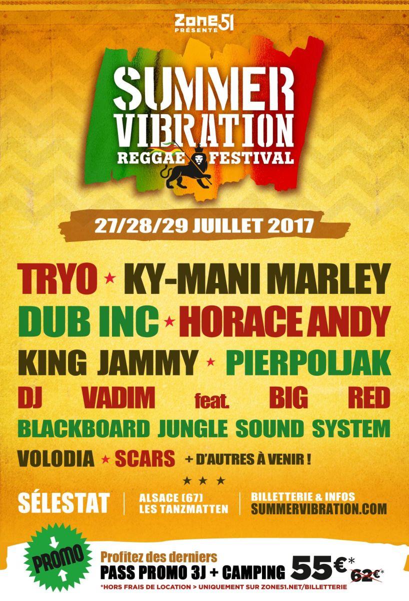 Tryo, Pierpoljak, DJ Vadim ft. Big Red et Scars rejoignent la 4ème édition du SUMMER VIBRATION reggae festival de Selestat (Alsace)