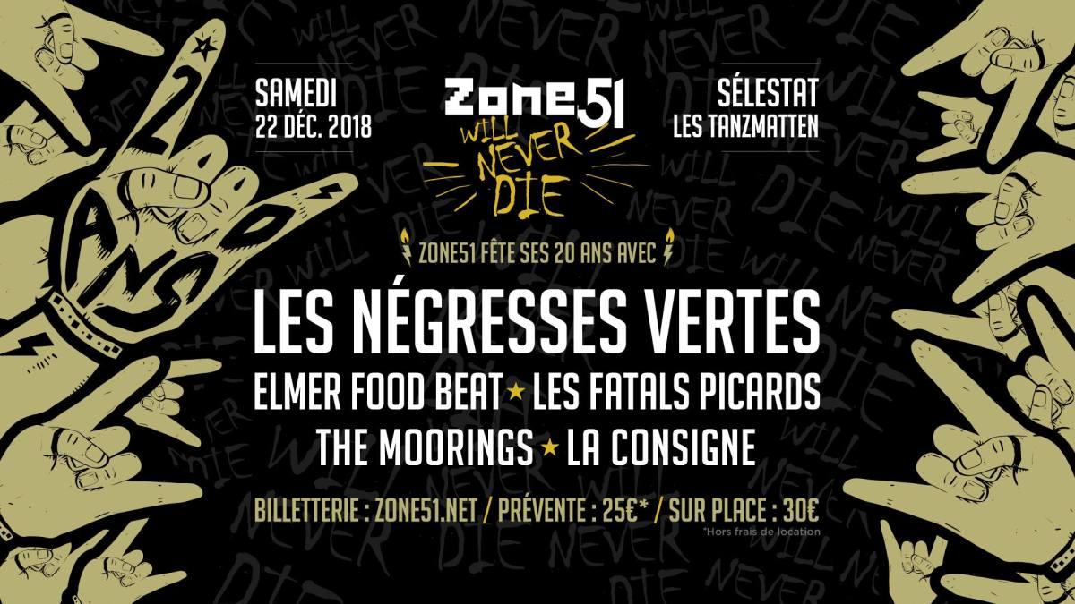 20 piges pour Zone51 - Grosse soirée en centre alsace ! LES NEGRESSES VERTES - ELMER FOOD BEAT - LES FATALS PICARDS