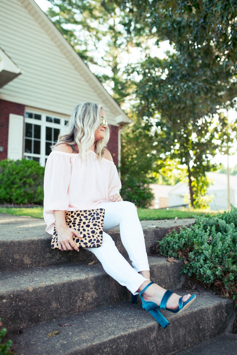 Cold Shoulder Blouse+ Statement Heel