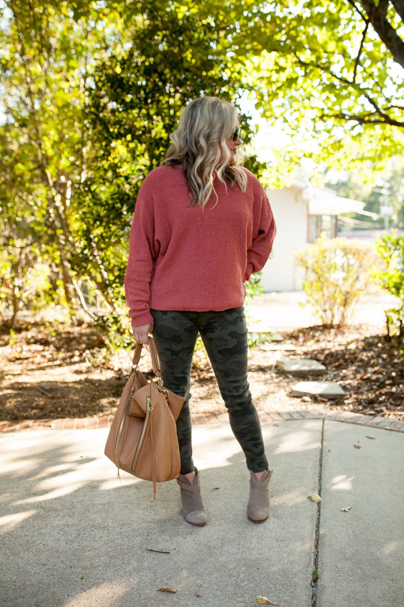 Pink Sweater With Camo Jeans