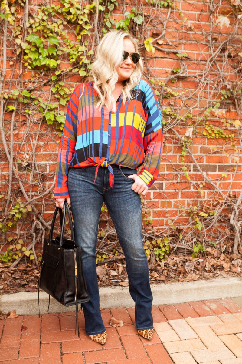 Colorful Geometric Tie Front Top