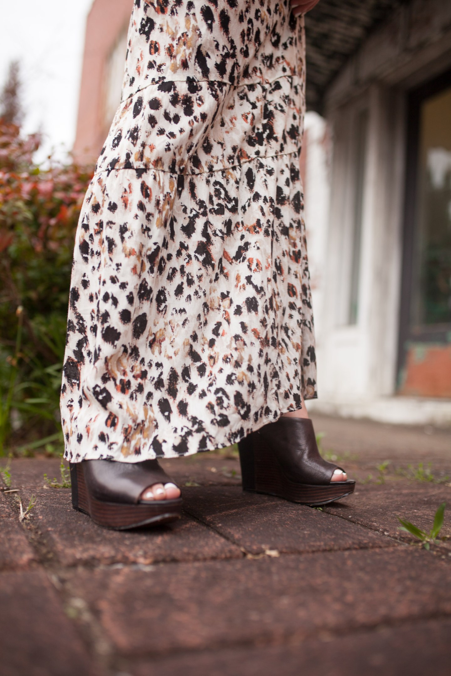 leopard maxi with open toe mules