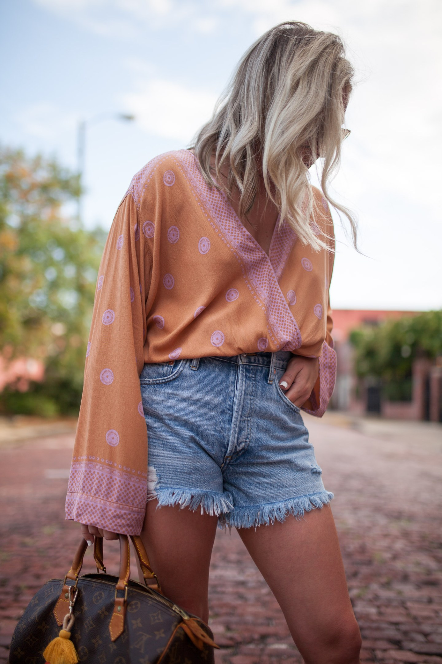free people bodysuit and agolde parker shorts