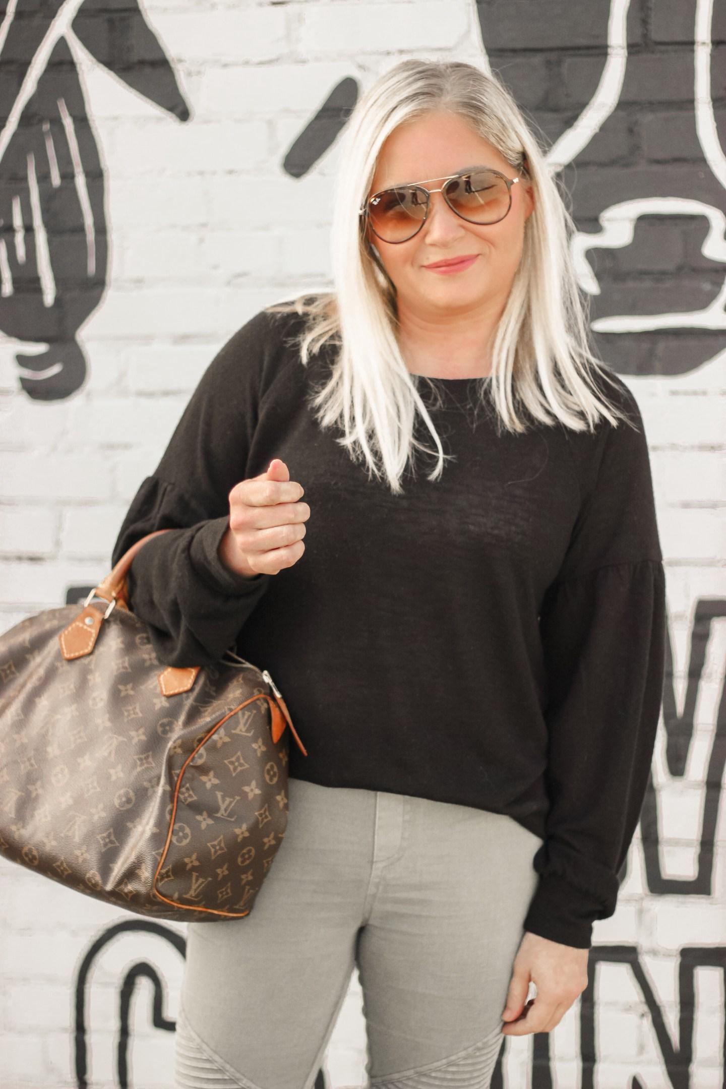 black balloon sleeve sweater