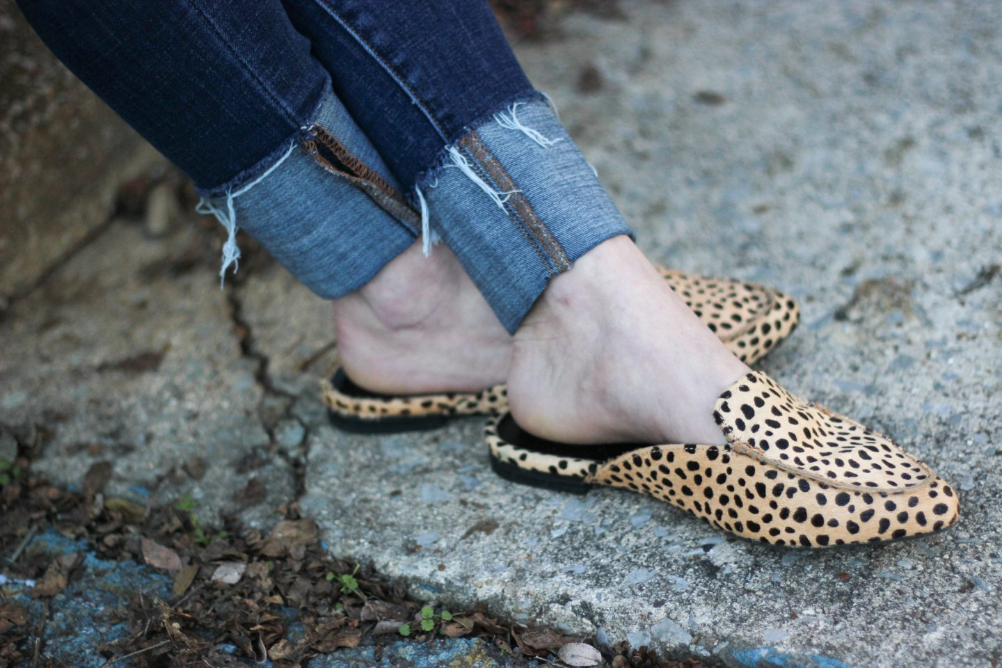 leopard calf hair slides