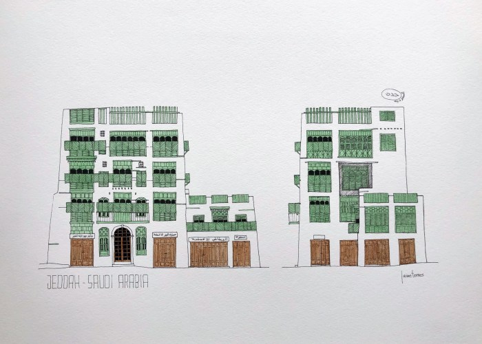 Sketch of Facade of Jeddah AlBalad painted in green watercolor
