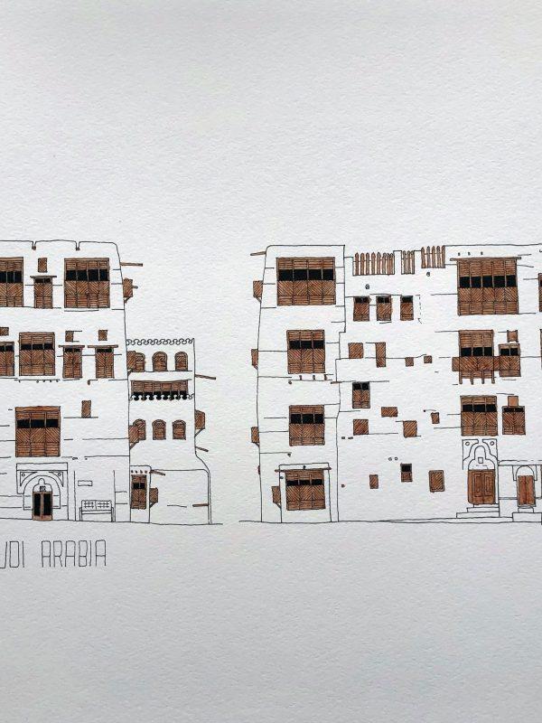 Art print watercolor of Jeddah AlBalad facade in Saudi Arabia Indian ink and brown color mashrabiyah
