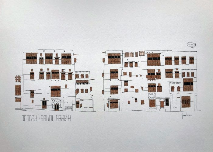 Art print watercolor of Jeddah AlBalad facade in Saudi Arabia Indian ink and brown color mashrabiyah
