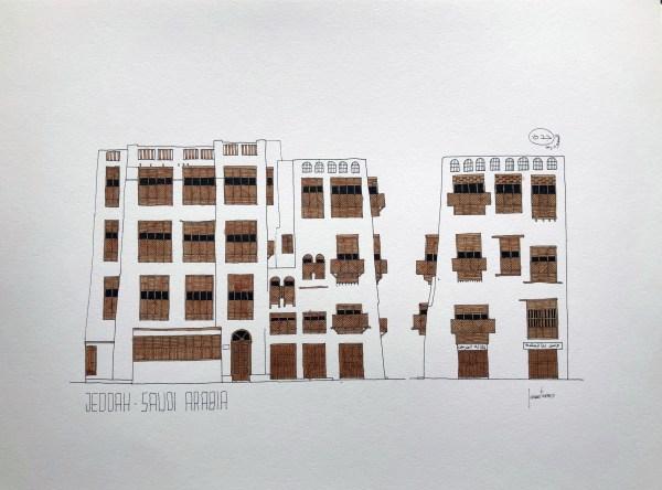Drawing sketch of Jeddah AlBalad facade in Saudi Arabia Indian ink and brown color mashrabiyah
