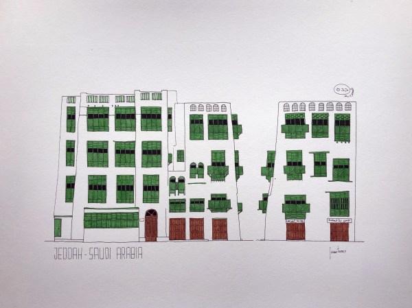 Drawing sketch of Jeddah AlBalad facade in Saudi Arabia Indian ink and green watercolor mashrabiyah