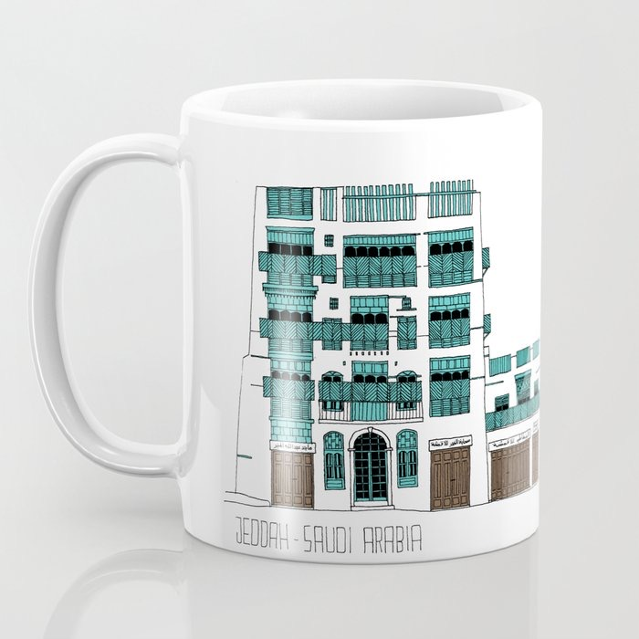 Coffee mug about Jeddah AlBalad facade 1 black ink sketch and turquoise color Mashrabiyah