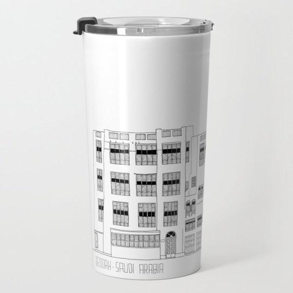 Travel mug about Jeddah AlBalad facade 2 black ink sketch with Mashrabiyah
