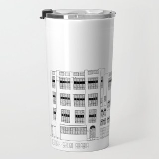 Travel mug about Jeddah AlBalad facade 2 black ink sketch with Mashrabiyah