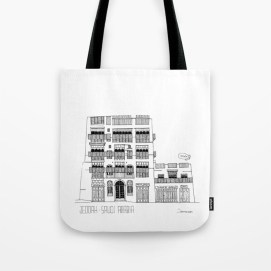 Tote textile bag about Jeddah AlBalad facade 1 black ink sketch Mashrabiyah