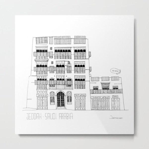 Metal print about Jeddah AlBalad facade 1 black ink sketch with Mashrabiyah