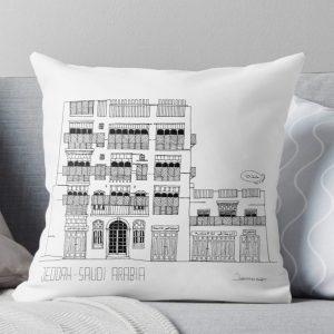 Cushion of Jeddah AlBalad Souq AlJami Black and White gift souvenir