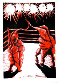 Wrestlers. 2011. Woodblock Print