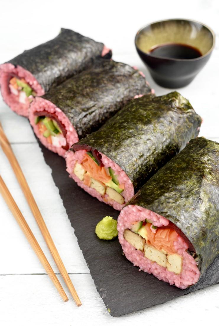 Roze Sushi Burrito www.jaimyskitchen.nl