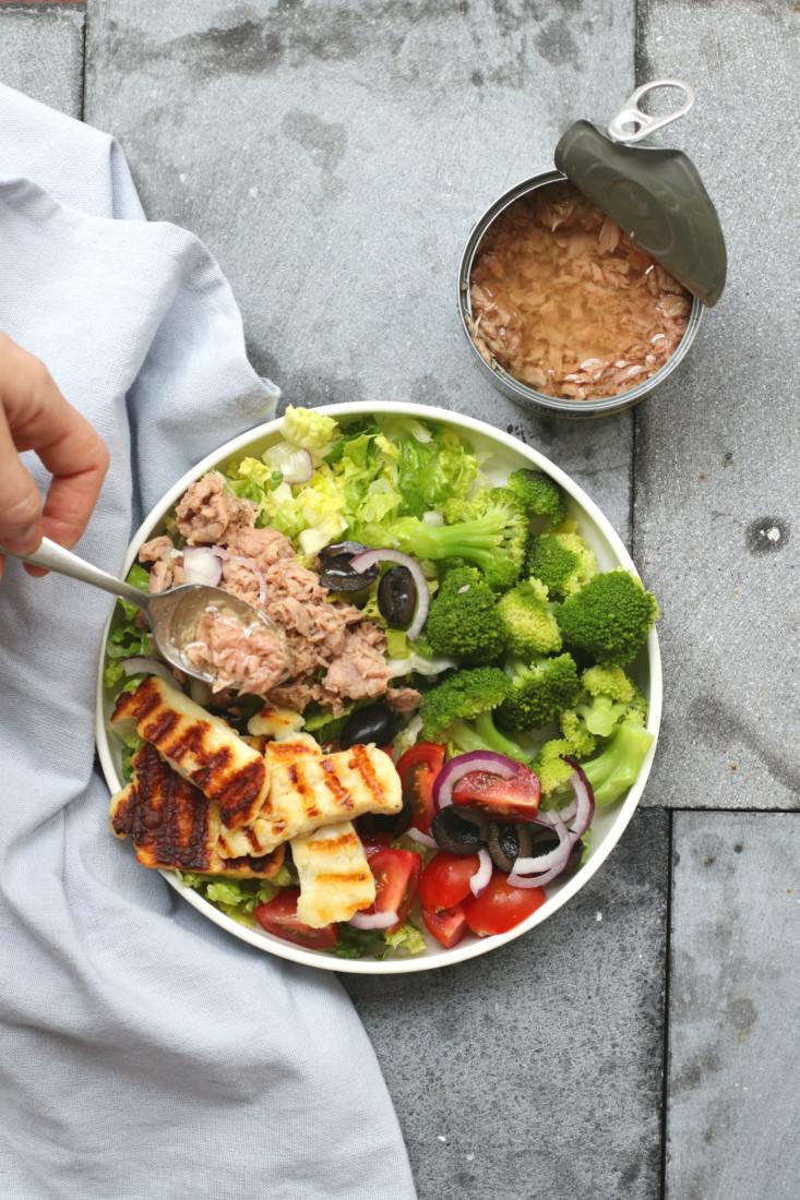 Salade met tonijn en haloumi www.jaimyskitchen.nl