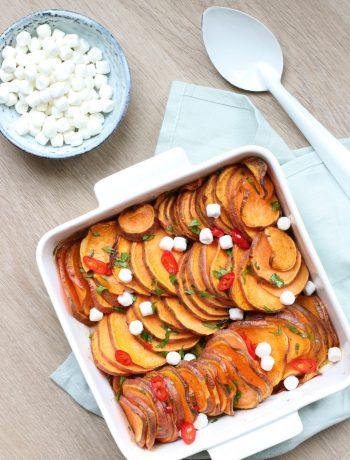 Recept gratin van zoete aardappel met geitenkaas www.jaimyskitchen.nl