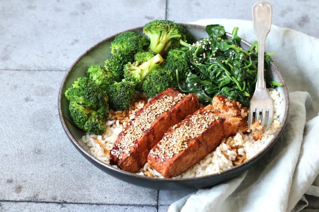 Recept Vegan zalm met teriyaki saus en rijst www.jaimyskitchen.nl