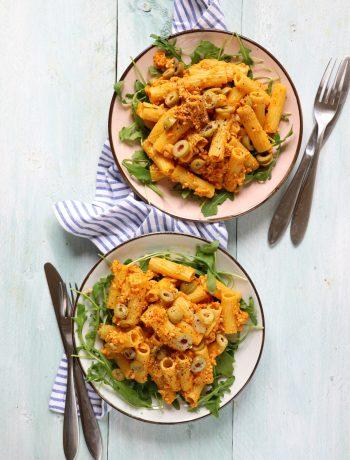 Pasta met oranje paprika pesto www.jaimyskitchen.nl