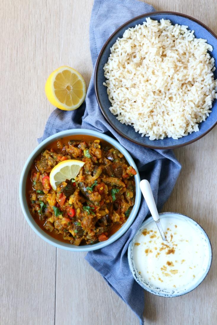 Recept geroosterde aubergine Indiase curry www.jaimyskitchen.nl