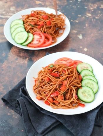 Recept vegetarische Surinaamse bami www.jaimyskitchen.nl