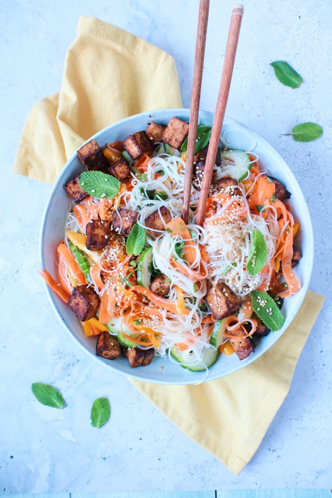 Recept noedel salade met tofu www.jaimyskitchen.nl
