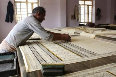 Sheets being printed at Bagru