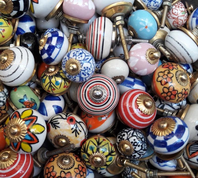 Boutons de porte ou de tiroir, céramique peinte à la main