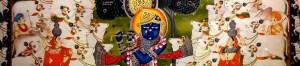 Tableau peint de Krishna au milieu des vaches