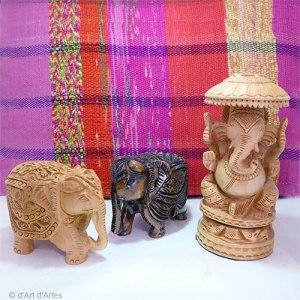 Eléphants- Ganesh sculptés en bois