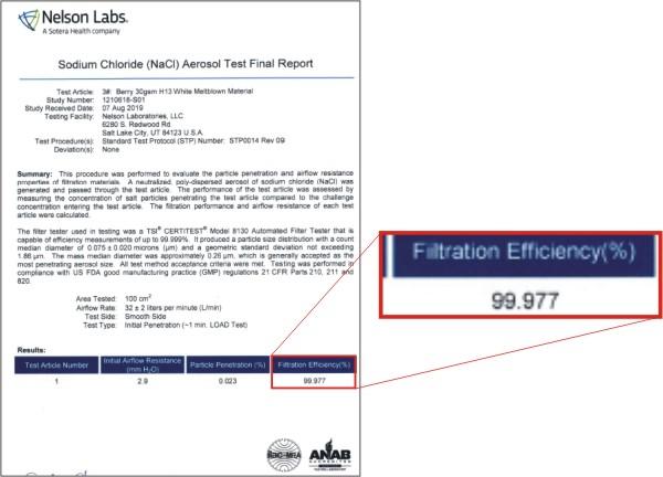 jair-p550等離子除菌消毒空氣清淨機多層複合H13醫療級HEPA濾網檢測報告